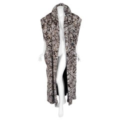 1978 Fendi Couture by Karl Lagerfeld Graphic Chinchilla Fur Maxi Jacket Vest