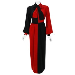 1978 Givenchy Boutique Black Red Black-Color Silk Bow Blouse & Wool Maxi Skirt