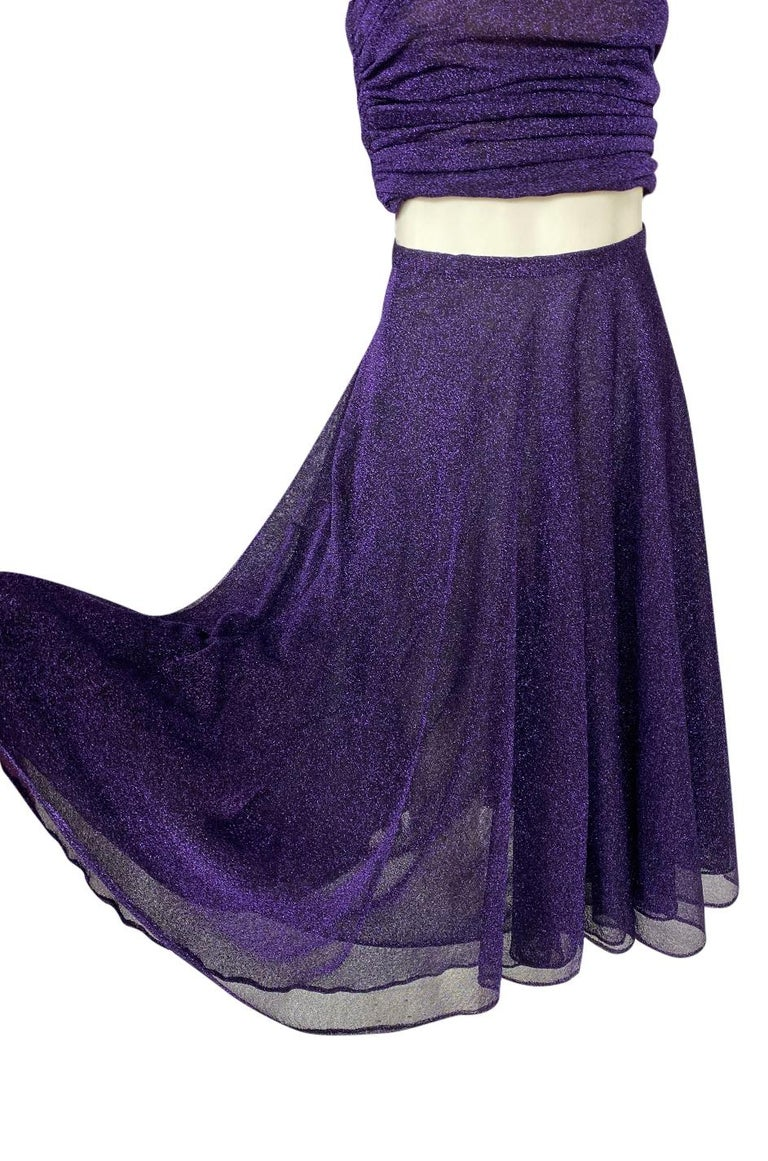 1978 Halston Couture Metallic Purple Lurex Cropped Bandeau Top & Skirt Set For Sale 6