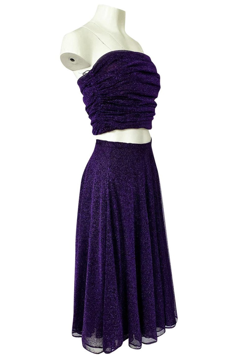 1978 Halston Couture Metallic Purple Lurex Cropped Bandeau Top & Skirt Set In Excellent Condition For Sale In Rockwood, ON
