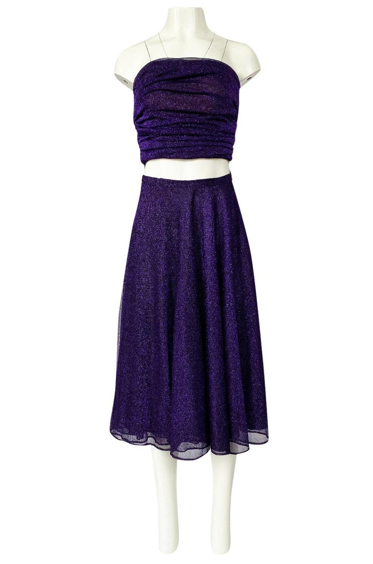Women's 1978 Halston Couture Metallic Purple Lurex Cropped Bandeau Top & Skirt Set For Sale