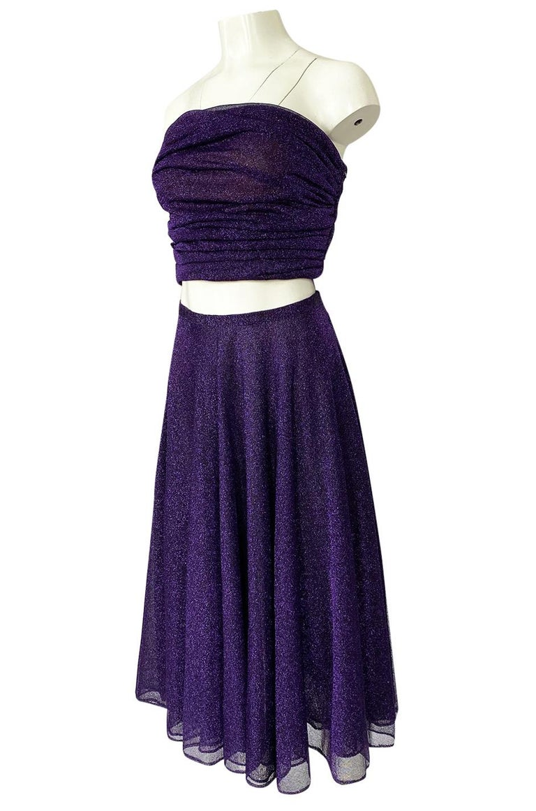 1978 Halston Couture Metallic Purple Lurex Cropped Bandeau Top & Skirt Set For Sale 1