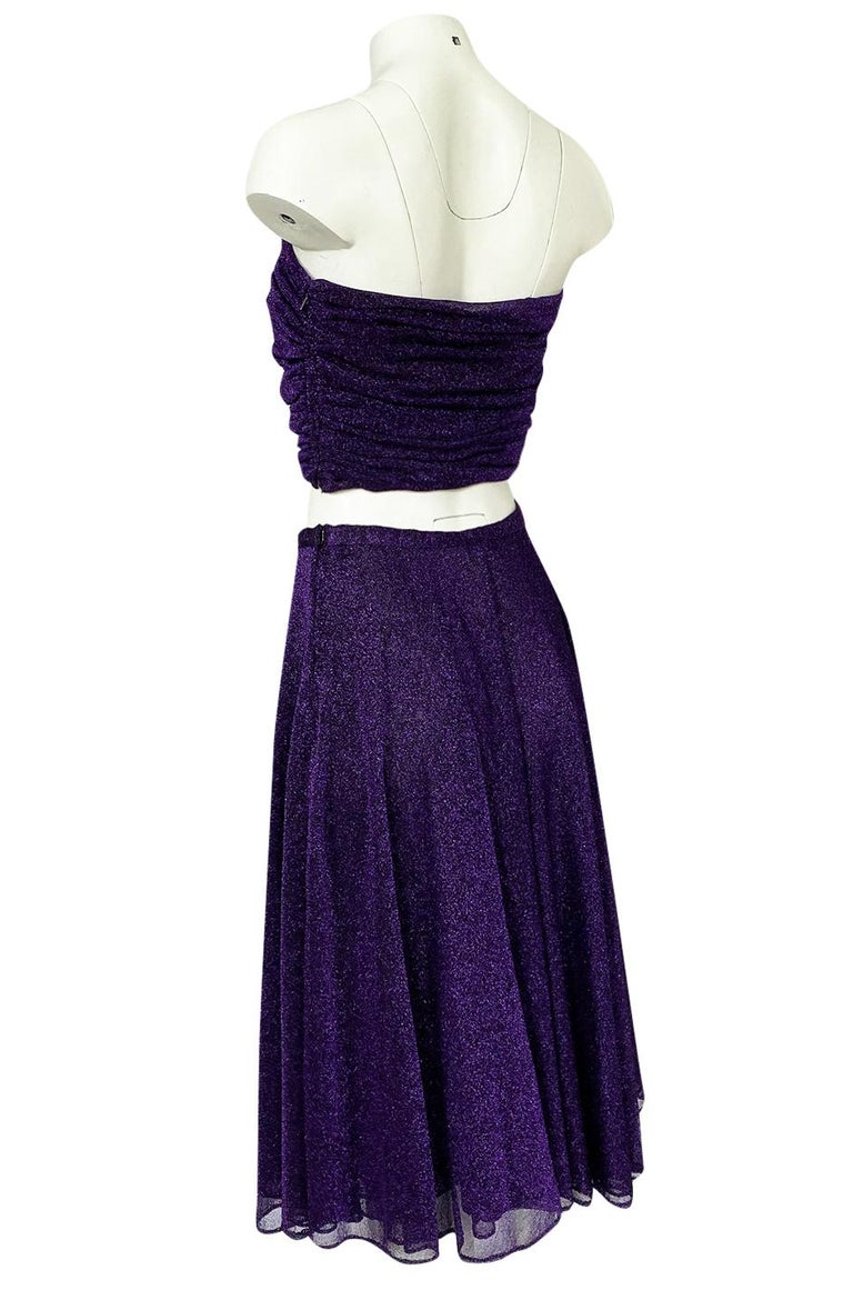 1978 Halston Couture Metallic Purple Lurex Cropped Bandeau Top & Skirt Set For Sale 2