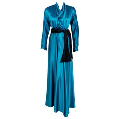 1978 Halston Couture Teal Blue Draped Silk Satin Long-Sleeve Belted Wrap Gown