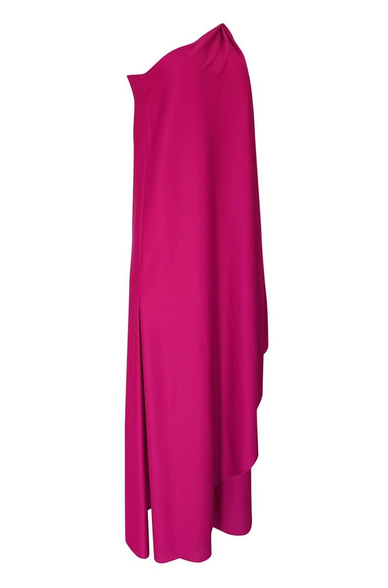 1978 Halston Pink One Shoulder Draped Jersey Dress In Excellent Condition For Sale In Toronto, ON