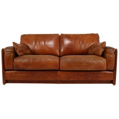 1978 Italian Vintage Baxter Bull Leather Sofa in Distressed Used Look