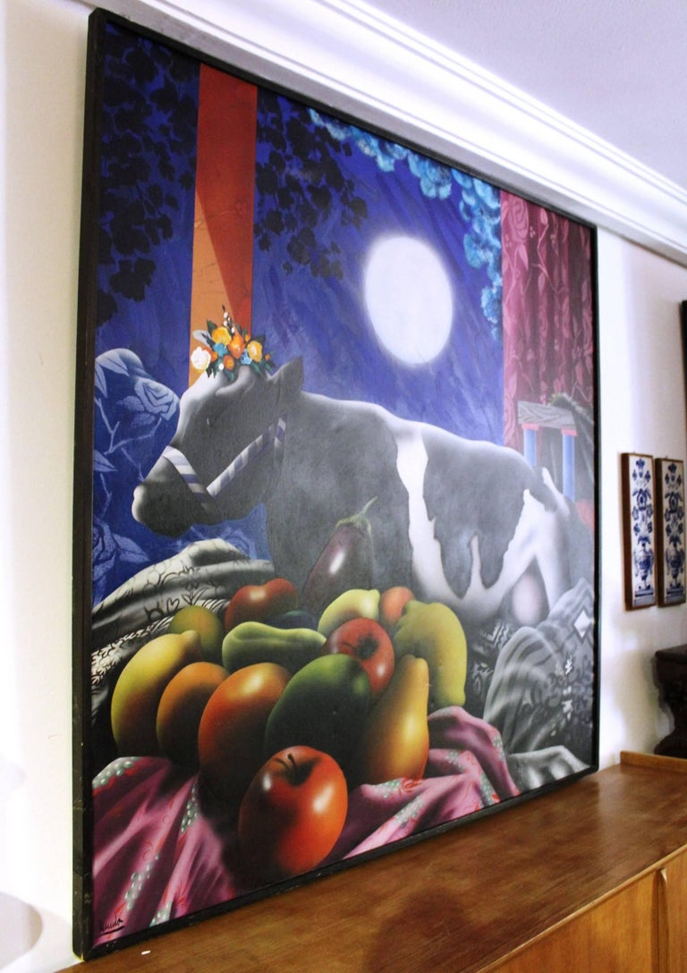Acrylic on canvas by renowned Spanish contemporary painter Eduardo Úrculo (Santurce, 1928 - Madrid, 2003)   It represents a cow surrounded by fruits and the moon, painted in vivid colors.  Signed, titled and dated 1978.