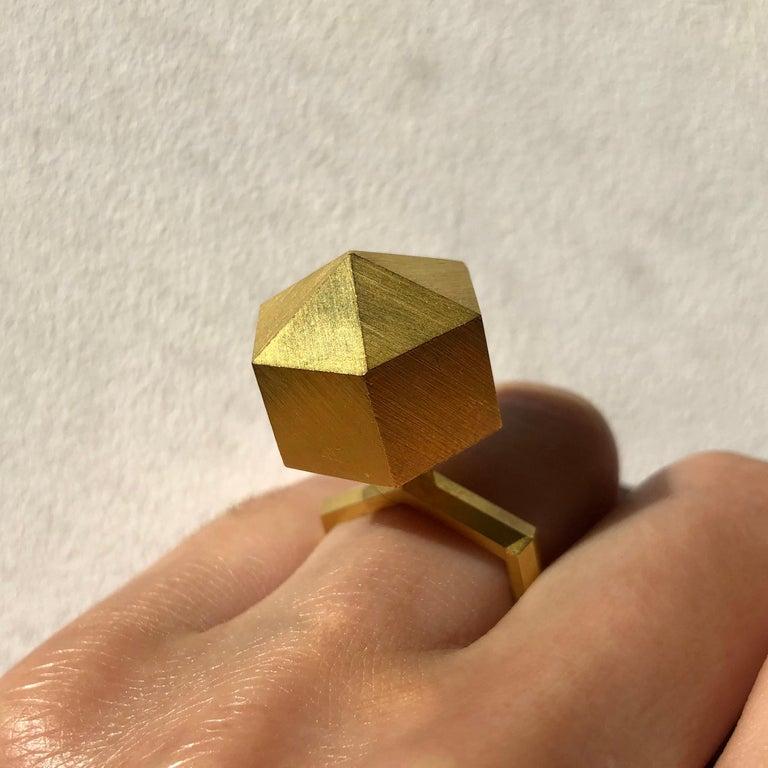 Modernist 1978 Peter Skubic Gold Geometric Ring