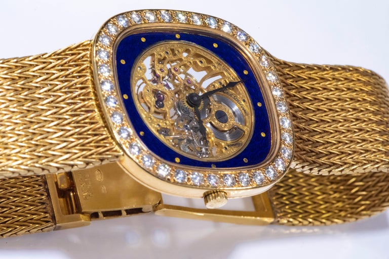 1978 Piece Unique Largest Known Patek Philippe Diamond Enamel Skeleton Watch For Sale 12