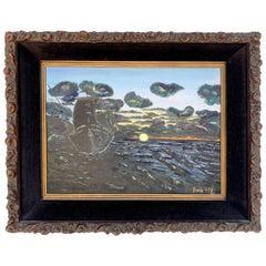 1978 Seascape Acrylic on Canvas Painting by Bonnie