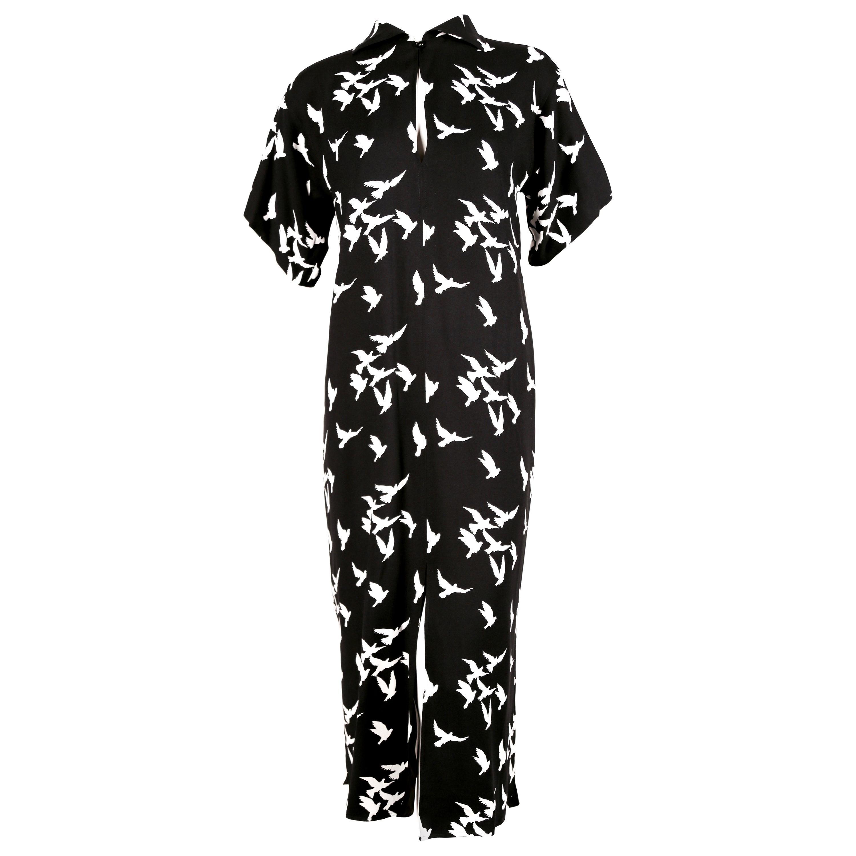 1978 YVES SAINT LAURENT documented black crepe dress with bird print