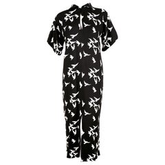 1978 YVES SAINT LAURENT documented black crepe dress with bird print