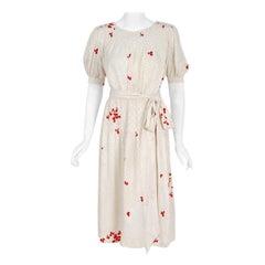 1978 Yves Saint Laurent Haute-Couture Ivory Red Print Silk Peasant Dress & Shawl
