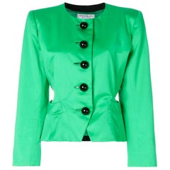 1980s Yves Saint Laurent Pea Green Jacket