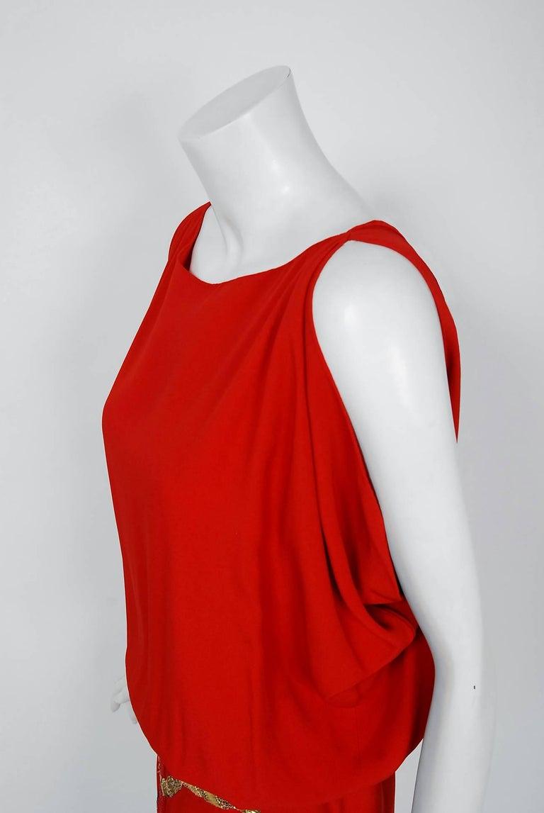 Women's Vintage 1979 Bill Blass Red Crepe Beaded Metallic Trompe L'oeil Draped Dress