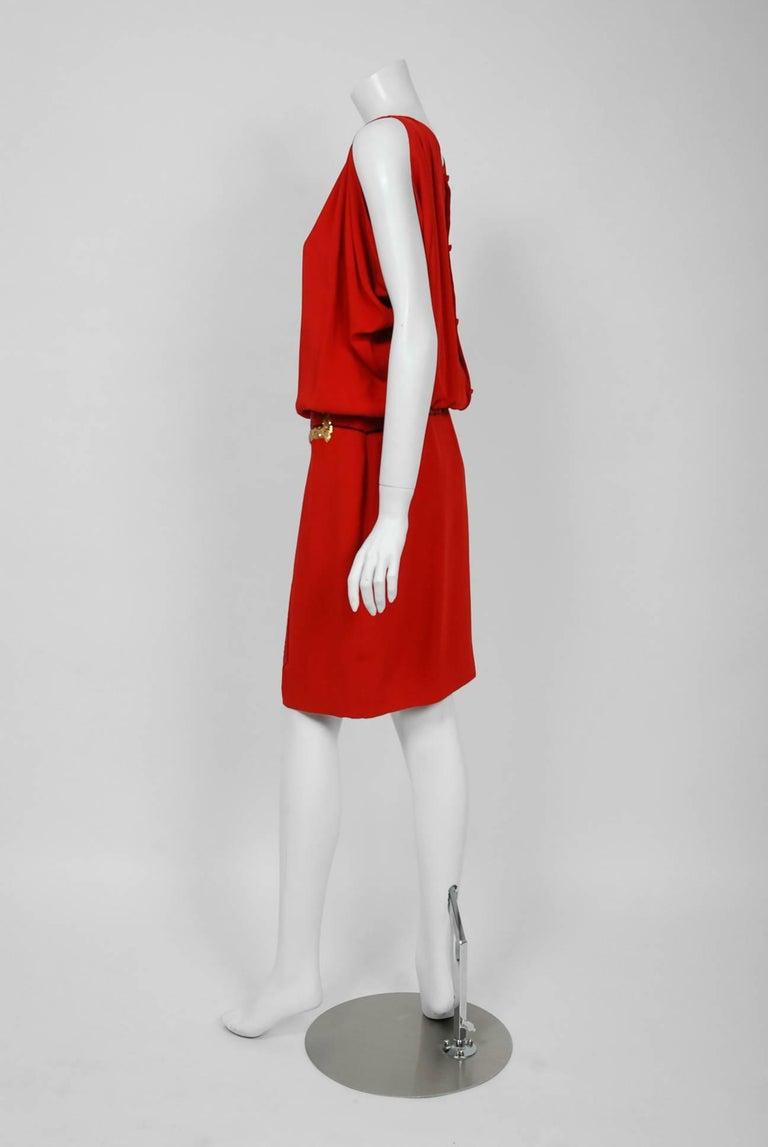 Vintage 1979 Bill Blass Red Crepe Beaded Metallic Trompe L'oeil Draped Dress  1