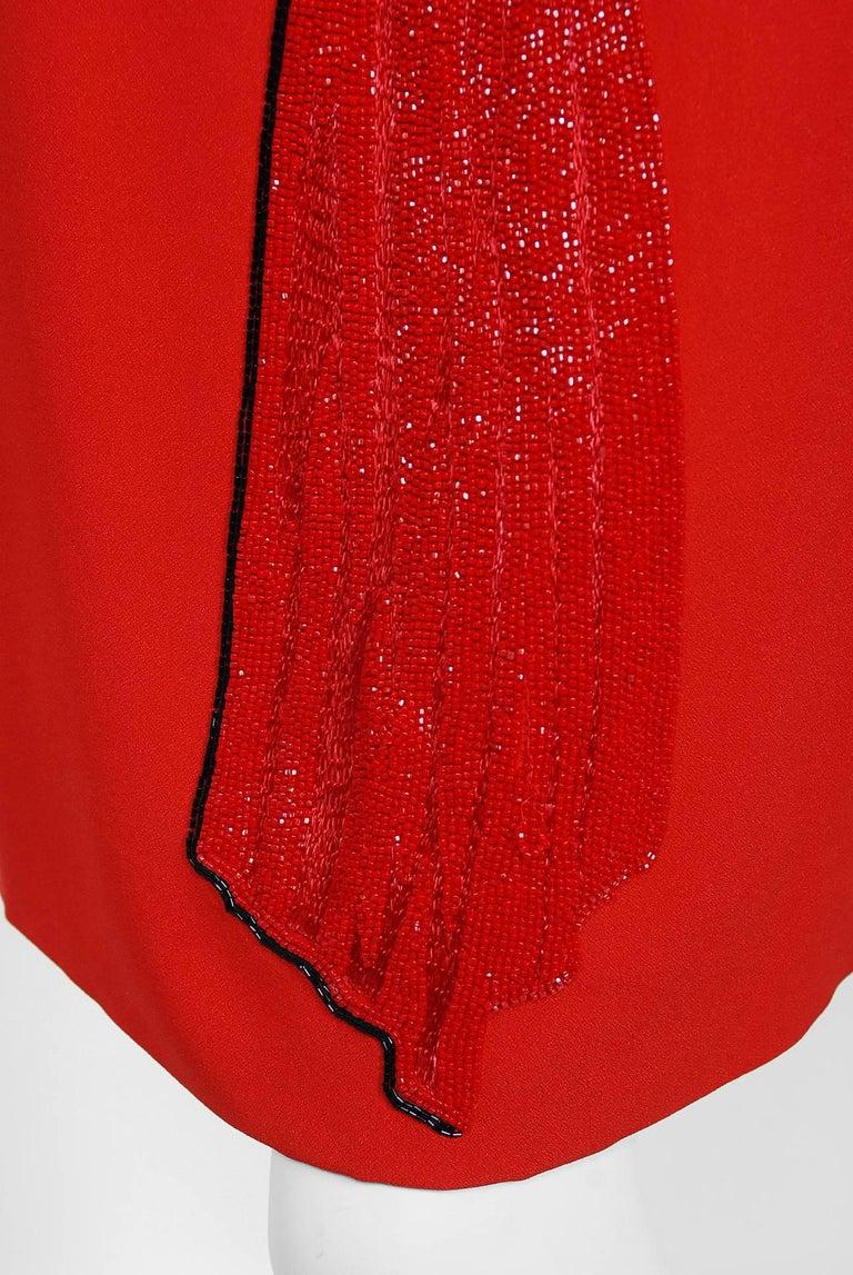 Vintage 1979 Bill Blass Red Crepe Beaded Metallic Trompe L'oeil Draped Dress  2