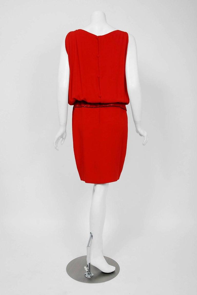 Vintage 1979 Bill Blass Red Crepe Beaded Metallic Trompe L'oeil Draped Dress  3