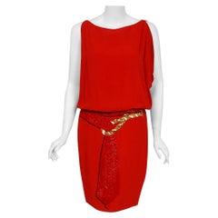 1979 Bill Blass Red Crepe Beaded Metallic Trompe L'oeil Draped Cocktail Dress