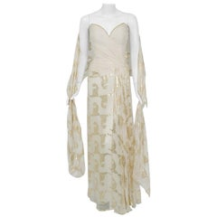 0c72cc50 1979 Bob Mackie Couture Metallic Ivory Gold Sari-Silk Strapless Hourglass  Gown