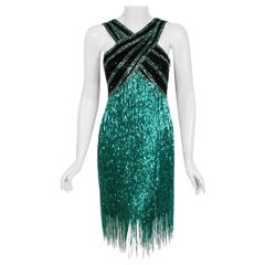1979 Bob Mackie Couture Teal-Green and Black Beaded Fringe Backless Disco Dress