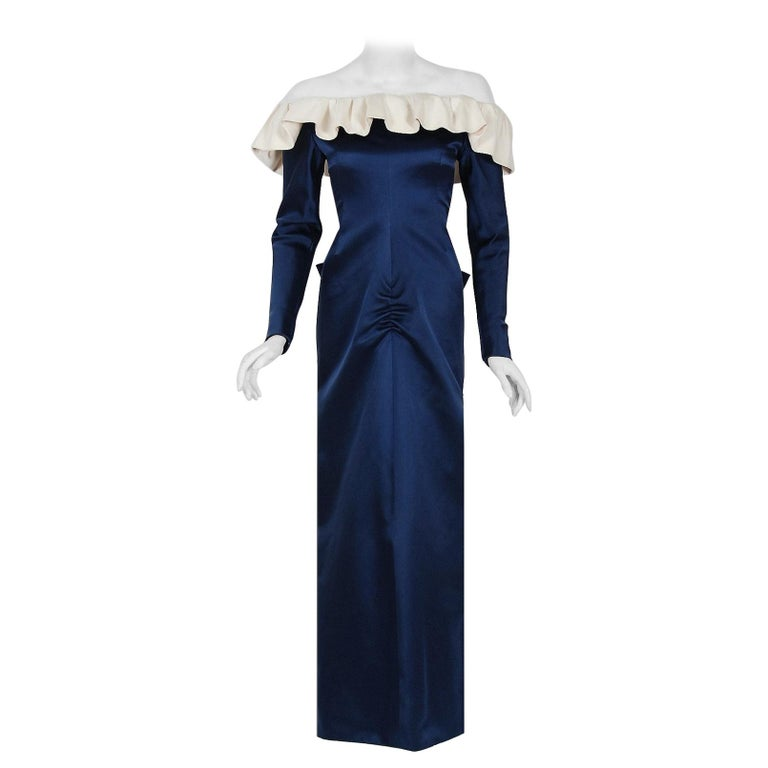 1979 Givenchy Haute-Couture Navy & Ivory Satin Off-Shoulder Ruffle Evening Gown For Sale