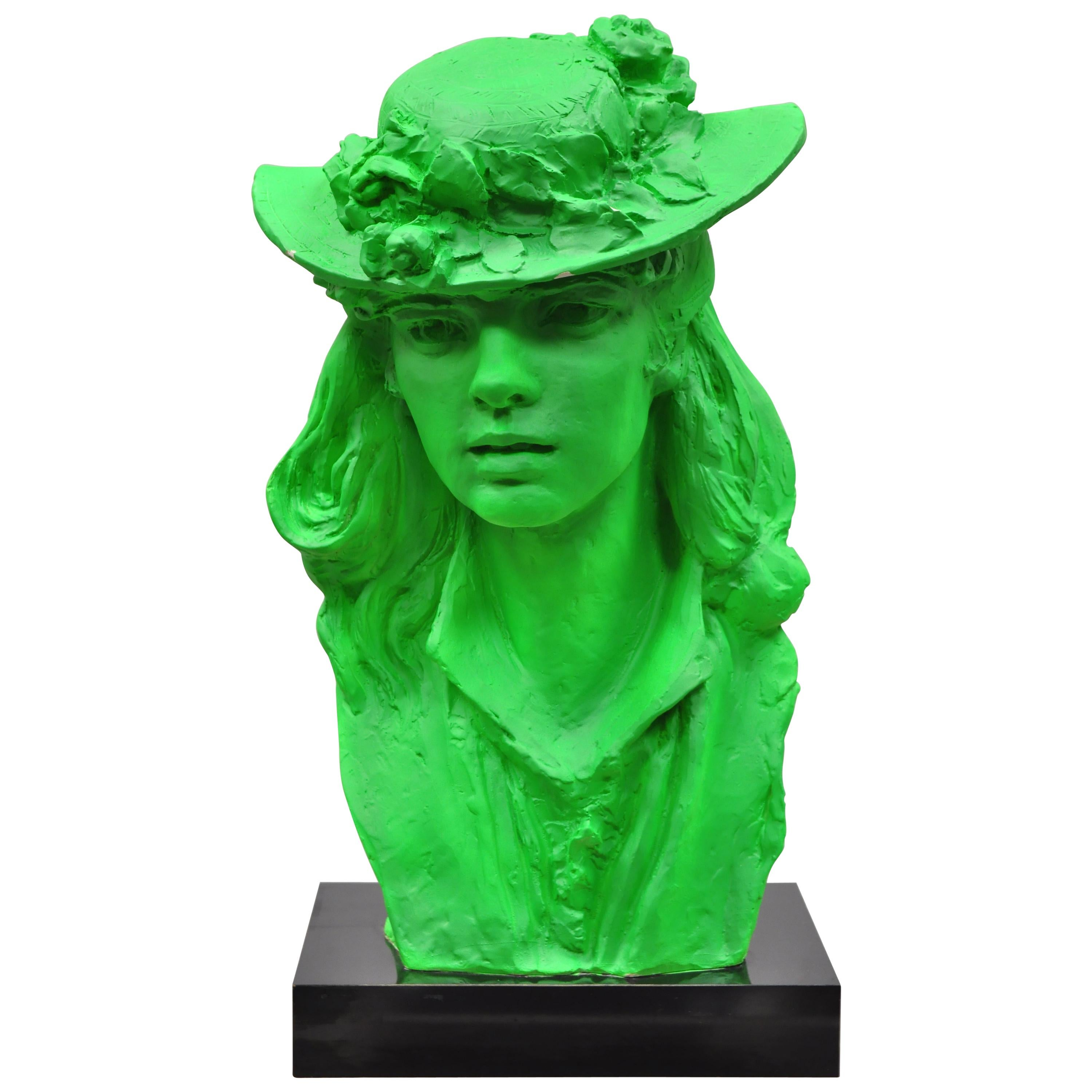1979 Green Victorian Style Plaster Sculpture Woman Bust in Hat by Austin Prod.
