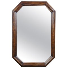 1979 Henredon Oak Octagon Shaped Traditional Vanity Dresser Wall Mirror