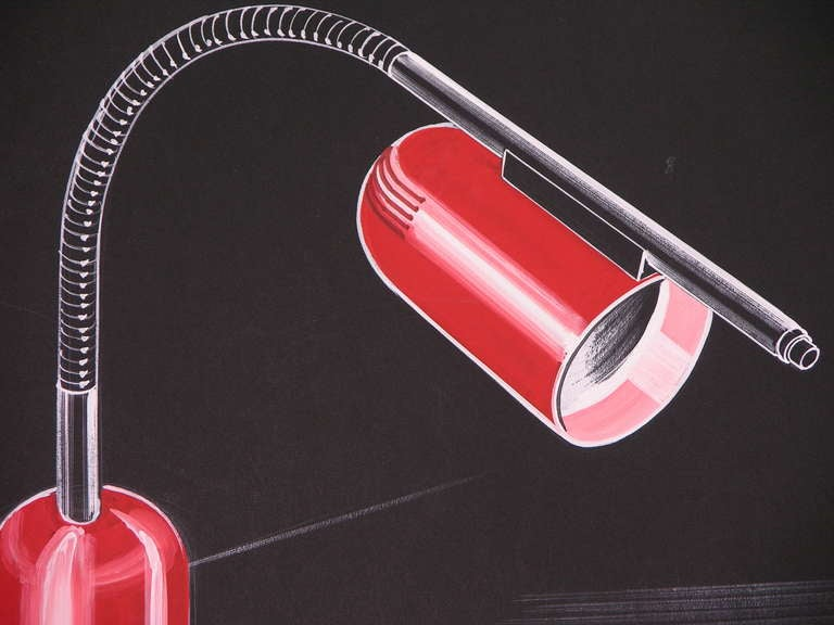 Dated mid-20th century industrial hand drawing, highly collectible Italian modern Product Design for a lacquer red desk light project, realized without a ruler in pastels and gouache on black cardboard, by the Italian designer, inventor and painter