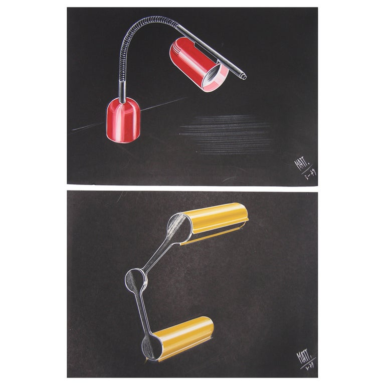 Mid-Century Modern One 1979 Mattioli Italian Design Drawing for a Modern Red Desk Light Project For Sale