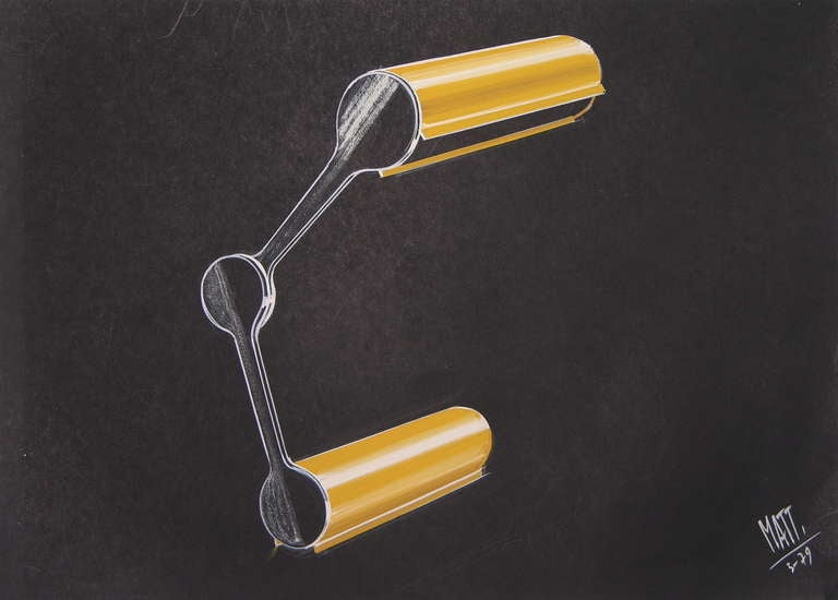 Hand-Painted One 1979 Mattioli Italian Design Drawing for a Modern Red Desk Light Project For Sale