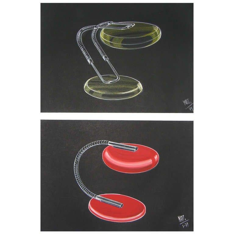 Paper One 1979 Mattioli Italian Design Drawing for a Modern Red Desk Light Project For Sale