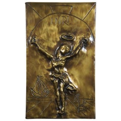 1979 Salvador Dali Christ of Saint John of the Cross Bas Relief Bronze Plaque