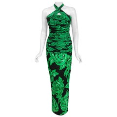 1979 Valentino Green Roses Floral Draped Silk Criss-Cross Halter Fishtail Gown