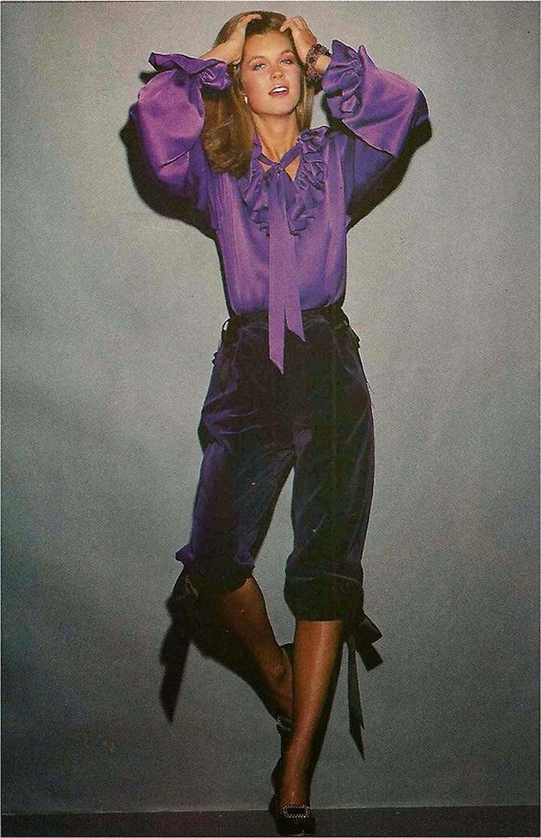 Vintage 1979 Yves Saint Laurent Documented Purple Velvet Jacket Knicker Pantsuit For Sale 5