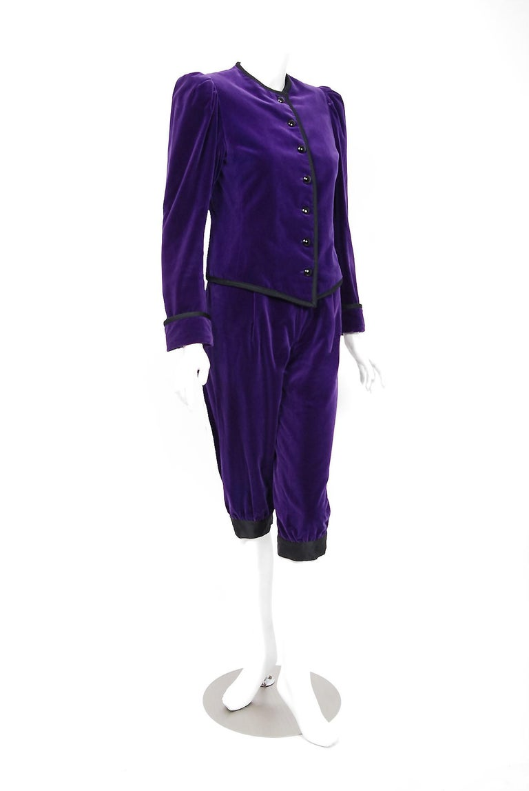 Incredibly gorgeous Yves Saint Laurent royal purple cotton-velvet pantsuit from his infamous 1979 Rive Gauche collection. Pieces from this decade are very rare and are true examples of fashion history. From the collection, it is believed Yves drew