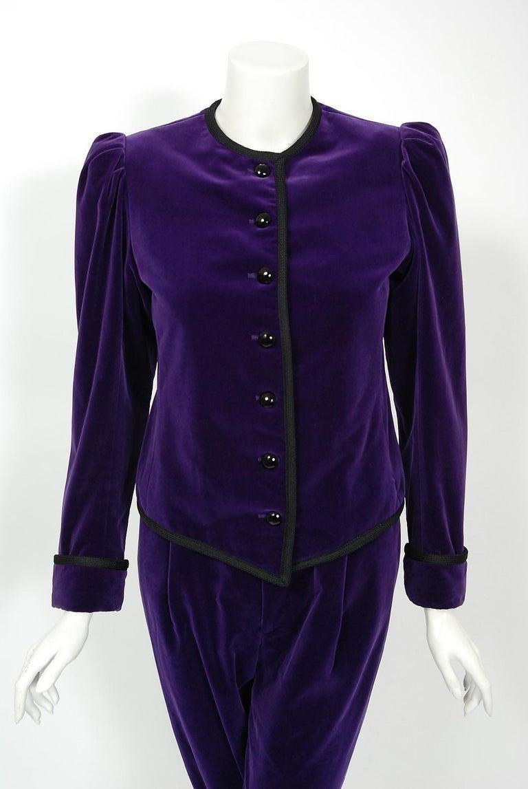 Black Vintage 1979 Yves Saint Laurent Documented Purple Velvet Jacket Knicker Pantsuit For Sale