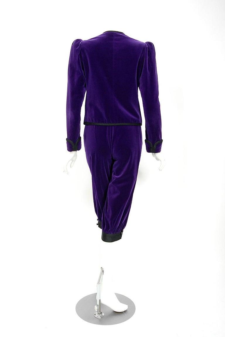 Vintage 1979 Yves Saint Laurent Documented Purple Velvet Jacket Knicker Pantsuit For Sale 1