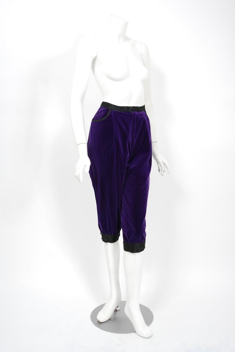 Vintage 1979 Yves Saint Laurent Documented Purple Velvet Jacket Knicker Pantsuit For Sale 2