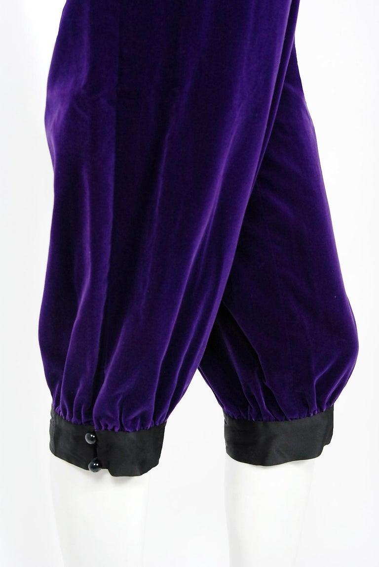 Vintage 1979 Yves Saint Laurent Documented Purple Velvet Jacket Knicker Pantsuit For Sale 3