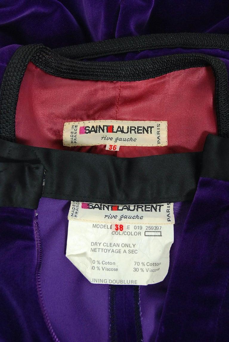Vintage 1979 Yves Saint Laurent Documented Purple Velvet Jacket Knicker Pantsuit For Sale 4