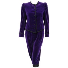 c69a99f16e5 1979 Yves Saint Laurent Purple Velvet Puff-Shoulder Jacket & Knickers  Pantsuit