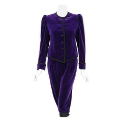 1979 Yves Saint Laurent Purple Velvet Puff-Shoulder Jacket & Knickers Pantsuit
