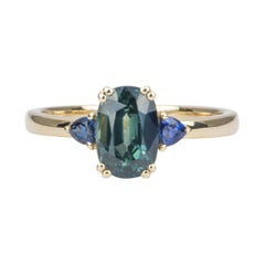 1.97ct Teal Blue Green Oval Sapphire Engagement Ring 14k Yellow Gold AD1749-29
