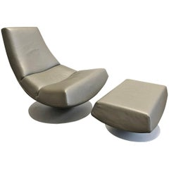 1970s Leather Lounge Chair and Ottoman