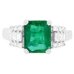 1.98 Carat Natural Emerald and Baguette White Diamond Ring 18K White Gold