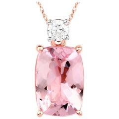 1.98 Carat Genuine Morganite and White Diamond 14 Karat Rose Gold Pendant