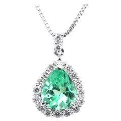 1.98 Carat, Natural, Pear-Shape Emerald and Diamond Pendant Set in Platinum