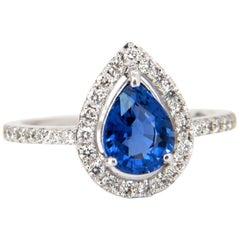 1.98 Carat Natural Sapphire Diamonds Halo Pear Ring 14 Karat