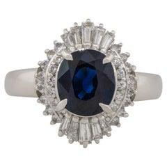 1.98 Carat Oval Sapphire Center Diamond Cocktail Ring Platinum in Stock